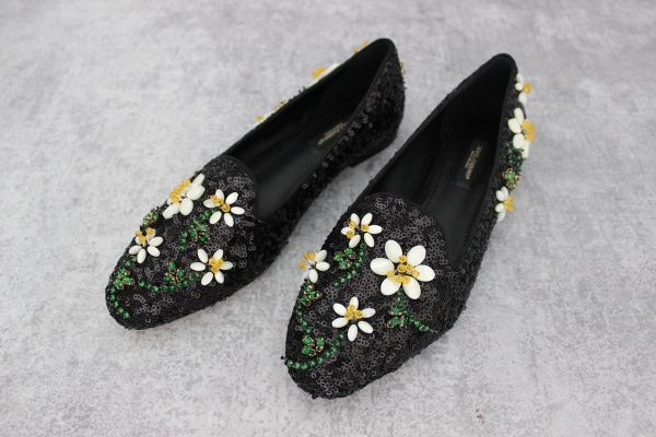 Dolce & Gabbana Audrey Sequined Flats with Daisy Jewels 7