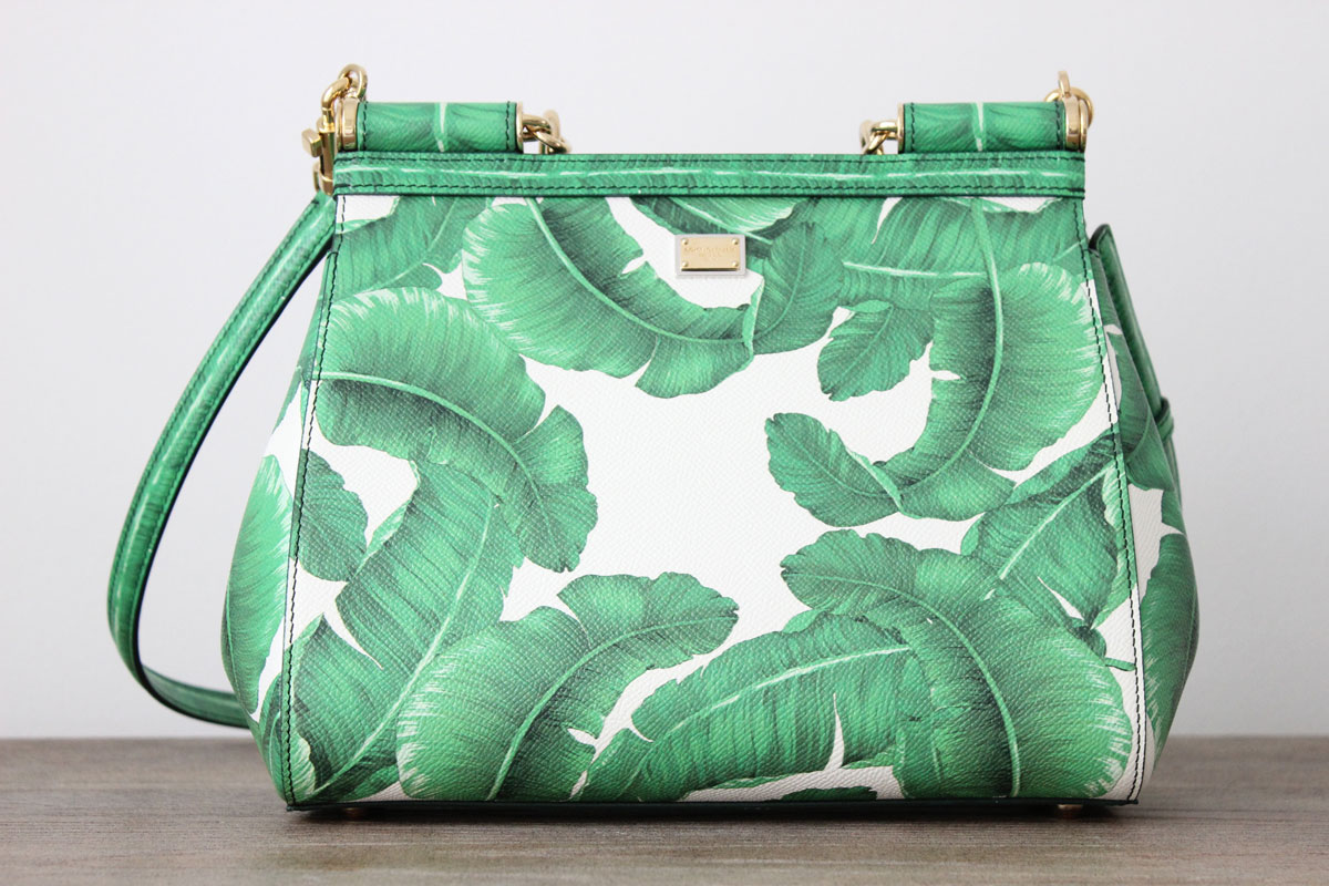 Dolce Amp Gabbana Miss Sicily Banana Leaf Leather Bag At
