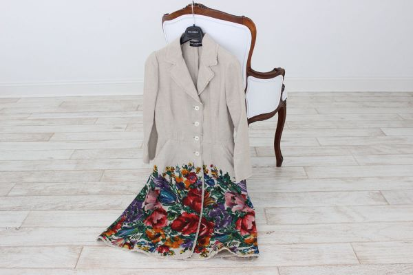 Dolce & Gabbana Floral Linen Dress 40