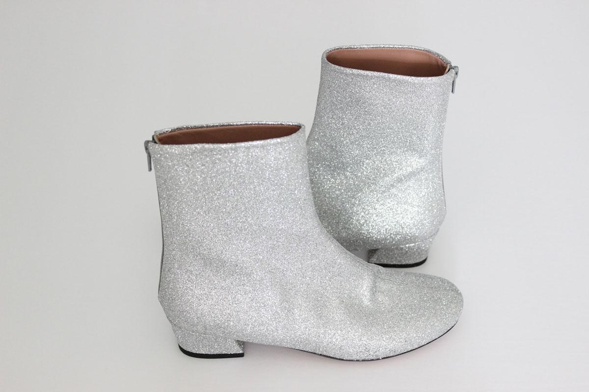Dries Van Noten Silver Glitter Booties at Jill's Consignment