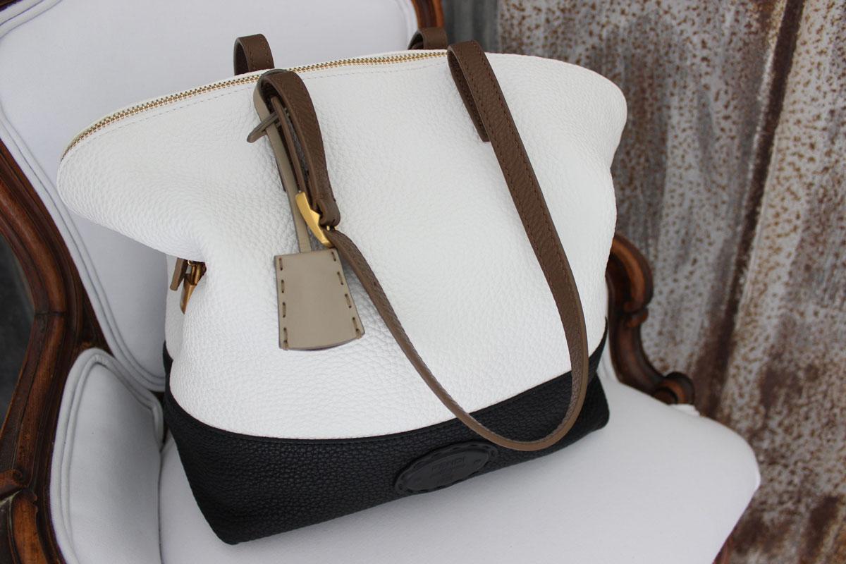 beba4572f0c1 Fendi Silvana 2Bag Leather Tote Black   White