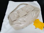 Fendi Coated Leather Large Flap Bag FF Pale Gold NEVER CARRIED