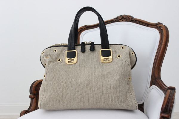 Fendi Linen Chameleon Satchel with Rivets