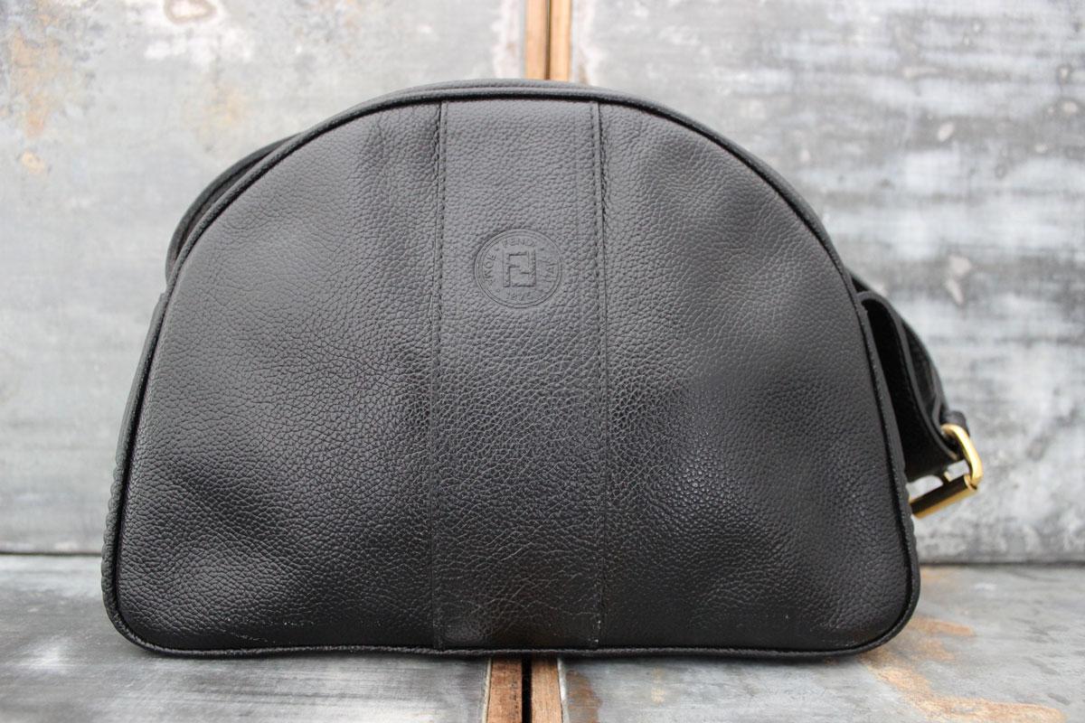 Fendi Vintage Black Leather Shoulder Bag
