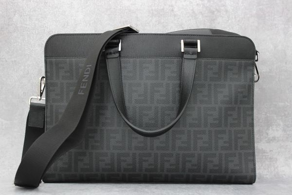 Fendi Classic Black Leather Zucca Laptop Briefcase