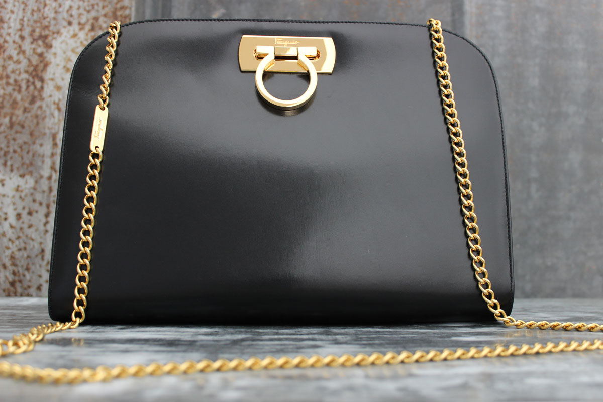 6c0db1671113 Ferragamo Black Smooth Calfskin Gancini Chain Shoulder Bag. Tap to expand