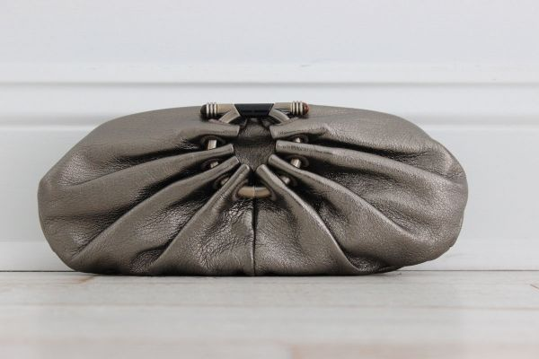 Ferragamo Bronze Pleated Leather Clutch