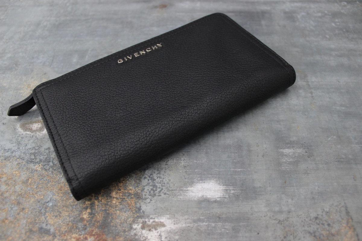 Givenchy black leather pandora zip around organizer wallet