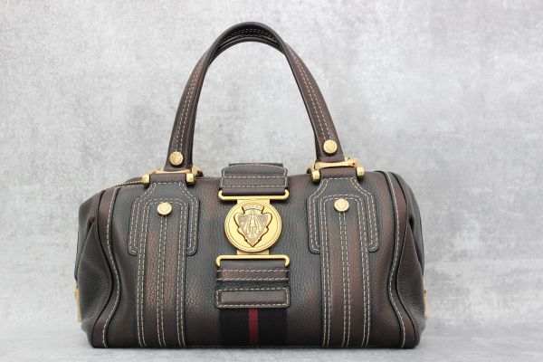Gucci Metallic Leather Aviatrix Boston Bag