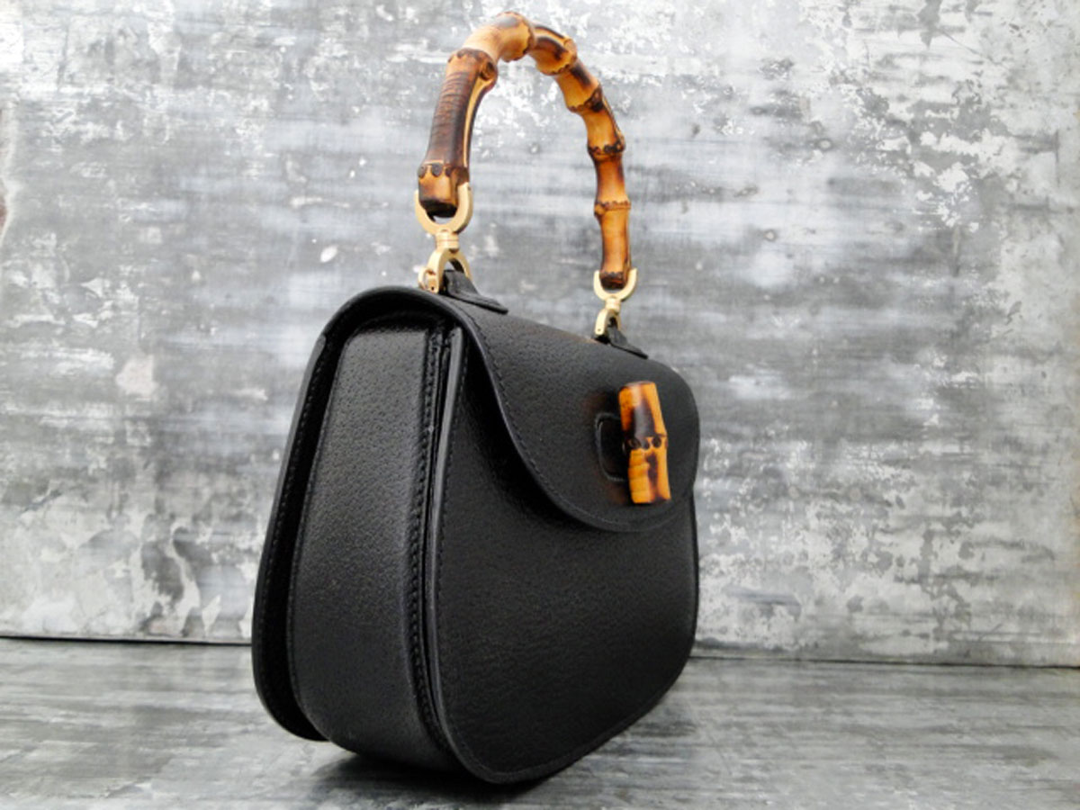 Gucci Vintage Bamboo Handle Bag Black Touch To Zoom