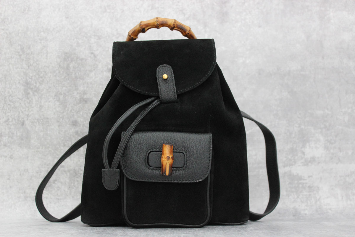 3841fe63a8be Gucci black suede & leather small bamboo backpack at Jill's Consignment