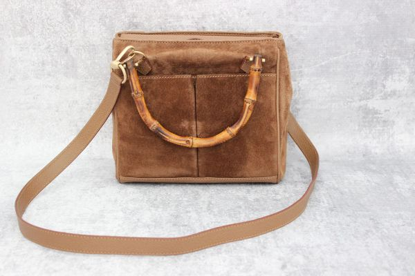 Gucci Tan Suede & Leather Bamboo Handle Bag