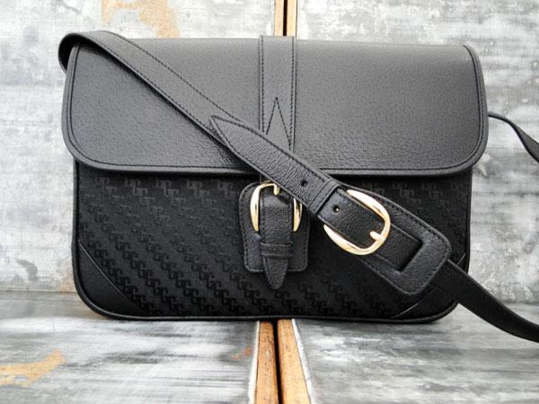 Gucci Vintage Black Gg Canvas Leather Shoulder Crossbody Bag Never Carried