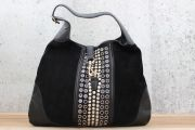 Gucci Black Suede Studded BOUVIER Large Shoulder Bag