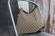 Gucci Beige Ebony GG Logo Canvas BRITT Hobo