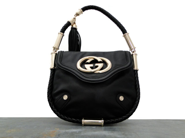 5ab8510371d6 Gucci Black Leather Small BRITT Tassel bag