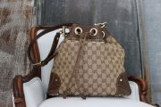 Gucci Beige Ebony GG Canvas & Leather Large Drawstring Shoulder Bag