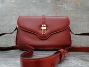 Gucci Classic Vintage Burgundy Leather Equestrian Cross Body Shoulder Bag