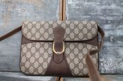 Gucci Vintage Brown GG Monogram Crossbody Clutch Bag