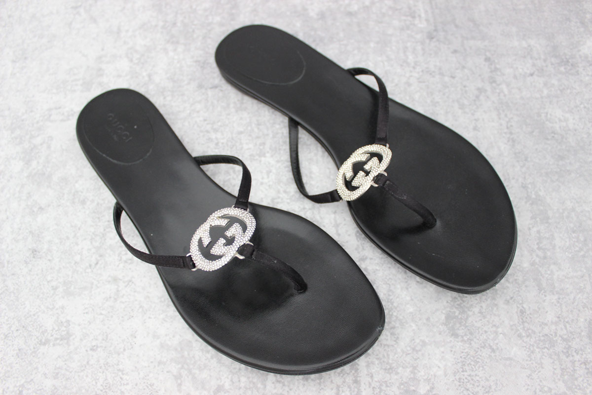f6467847dca7 Gucci Crystal GG Thong Sandals at Jill s Consignment