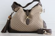 Gucci Diamante Canvas & Leather Bamboo Tassel Jackie Bag