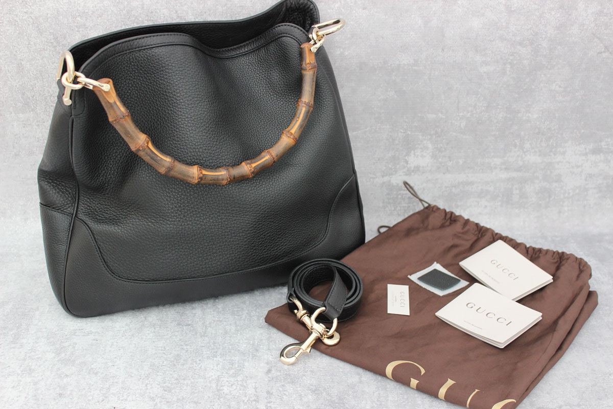 015dc27f4b55 Gucci Black Leather Diana Bamboo Hobo at Jill's Consignment