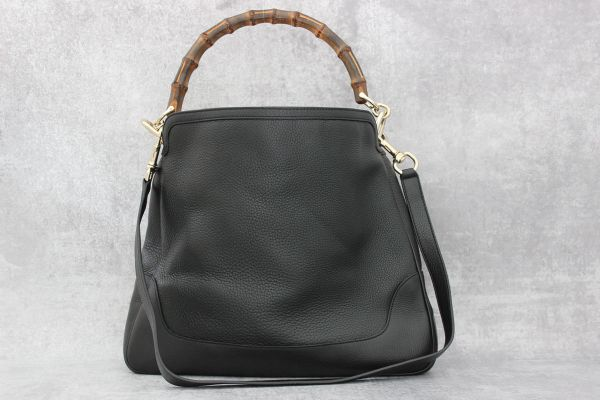 Gucci Black Leather Diana Bamboo Hobo