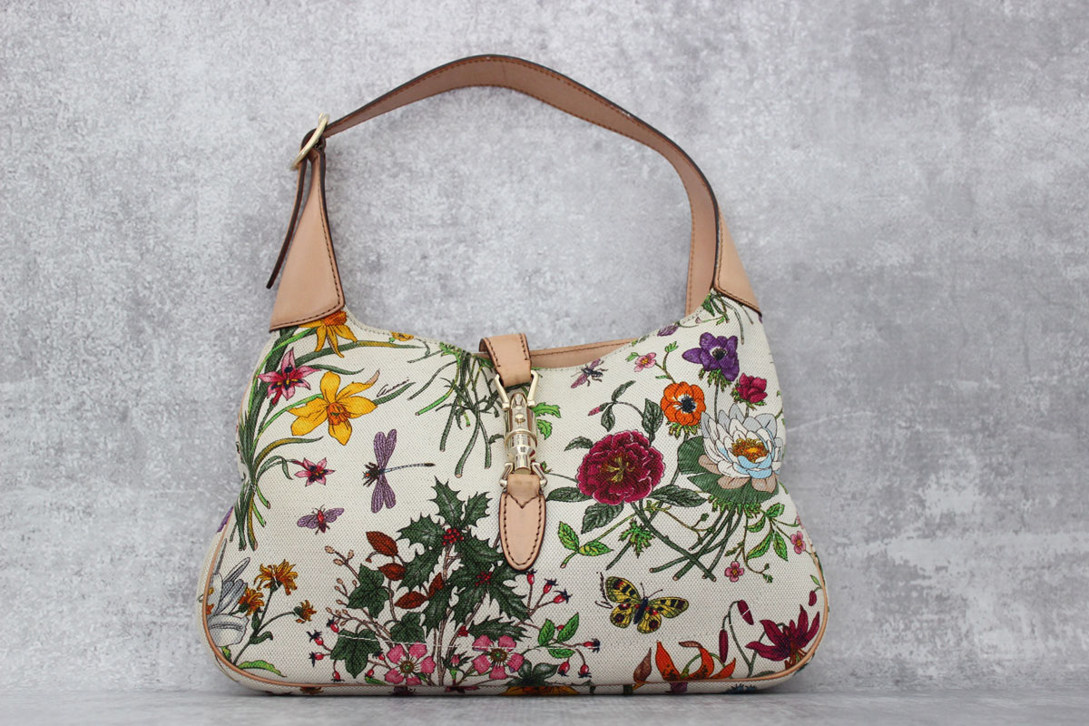 Gucci Floral Canvas U0026 Leather Jackie Bag At Jillu0026#39;s Consignment