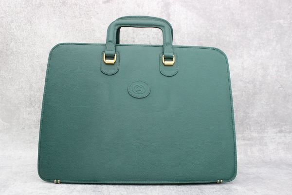 Gucci Green Leather Vintage Hard Sided Briefcase