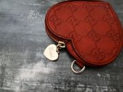 Gucci Red Leather Heart Shaped Coin Purse