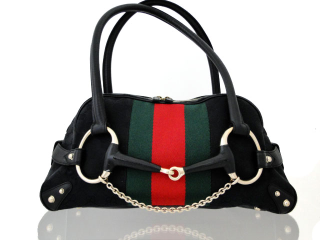 49019f3948c Gucci Black GG Canvas Horsebit Boston Bag