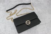Gucci Interlocking G Wallet On Chain Black Leather