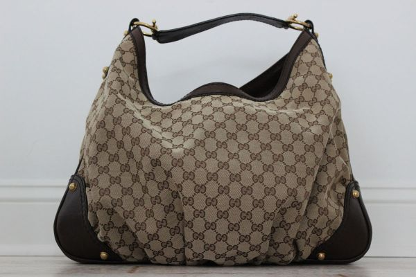 Gucci Large JOCKEY Hobo Beige Ebony