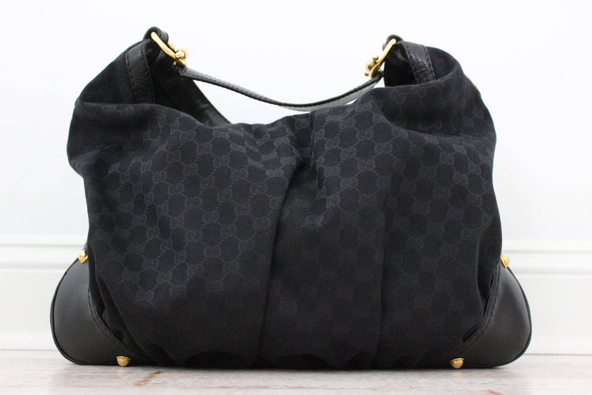 5eae21b36a9 Tap to expand. Gucci Large JOCKEY Hobo Black. Gucci Large JOCKEY Hobo Black.  This bag is in EXCELLENT condition! Black GG monogram canvas