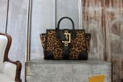Gucci Leopard Print Calf Hair Buckle Front Tote