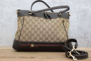 Gucci GG Canvas Mayfair Web Stripe Tote