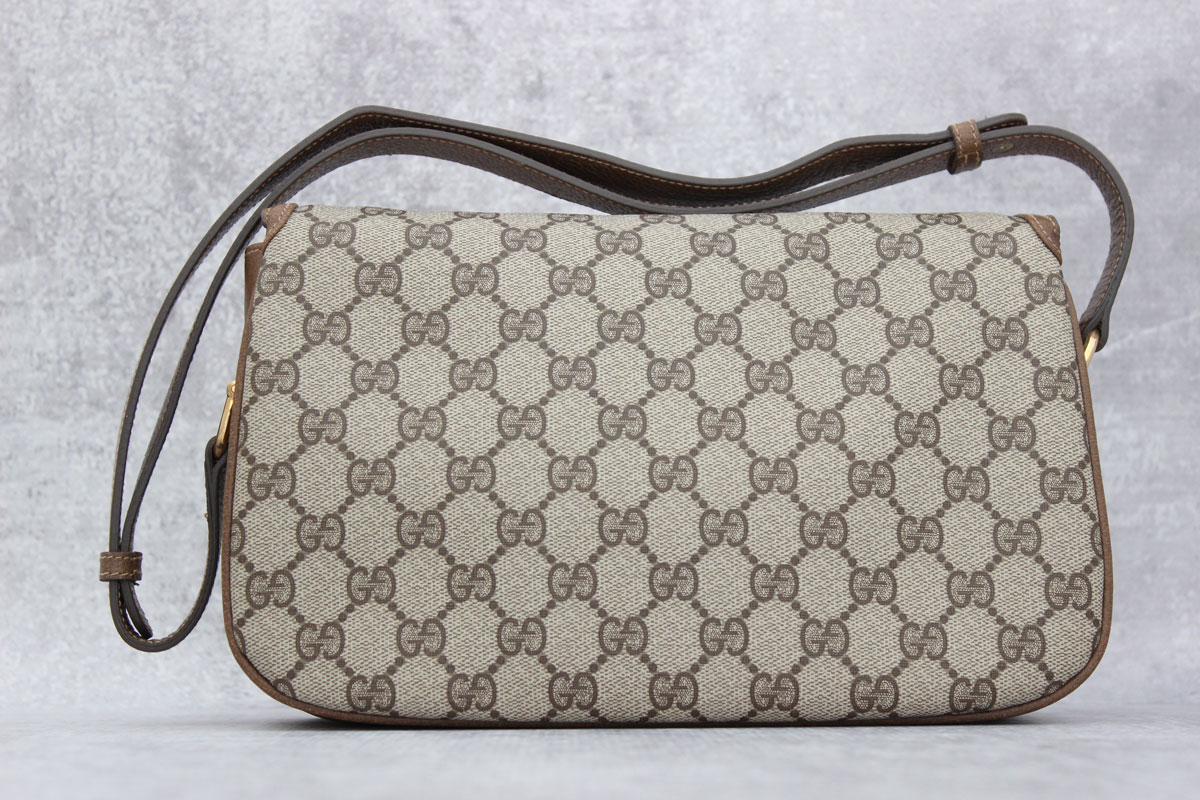 99569e6b201f Gucci Brown GG Monogram Shoulder Bag with Flap at Jill's Consignment