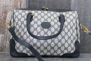 Gucci Vintage Navy GG Monogram Large Satchel with Strap
