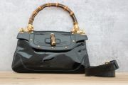 Gucci Black Patent Leather Bamboo Handle Shoulder Bag