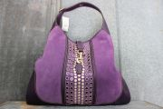 Gucci Purple Suede Studded Bouvier Large Shoulder Bag