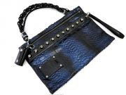 Gucci Metallic Blue Python Studded Large Shoulder Bag Clutch