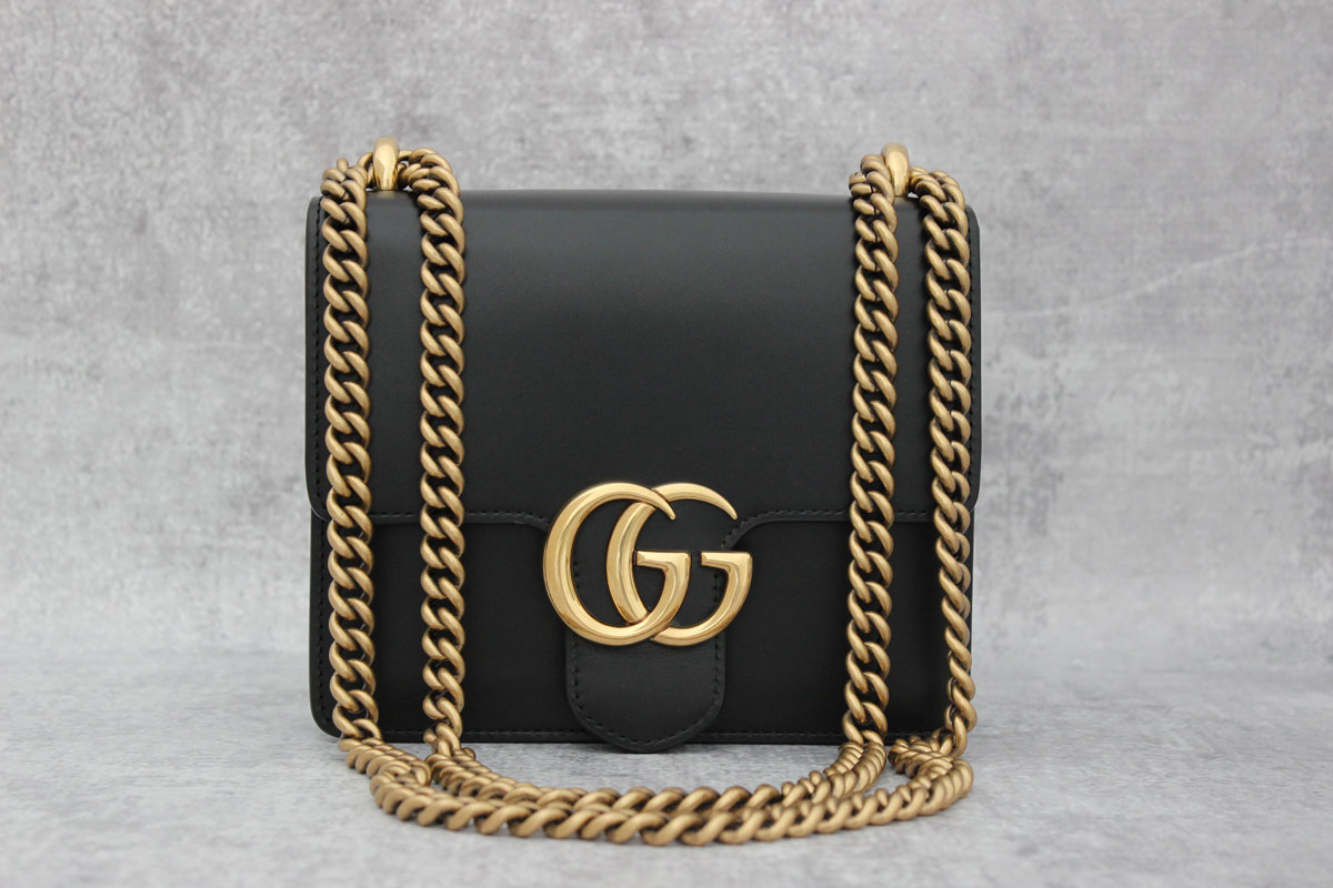 53a4fd85c80f Gucci Small GG Marmont Chain Shoulder Bag at Jill's Consignment