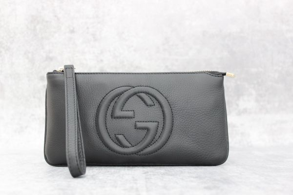 Gucci Black Leather Soho Wristlet