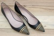 Gucci Black Leather Low Heel Studded Pumps