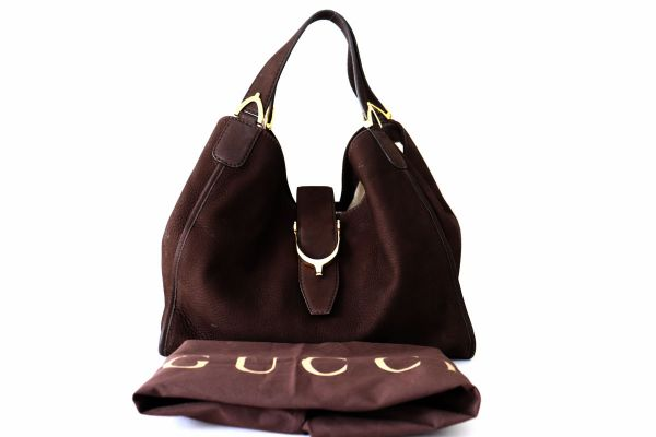 Gucci Brown Suede Stirrup Hobo