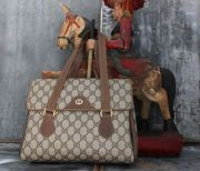 Gucci Beige Ebony Vintage Coated Canvas Satchel