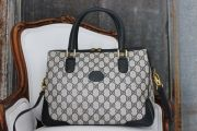 Gucci Vintage Navy GG Large Satchel With Strap