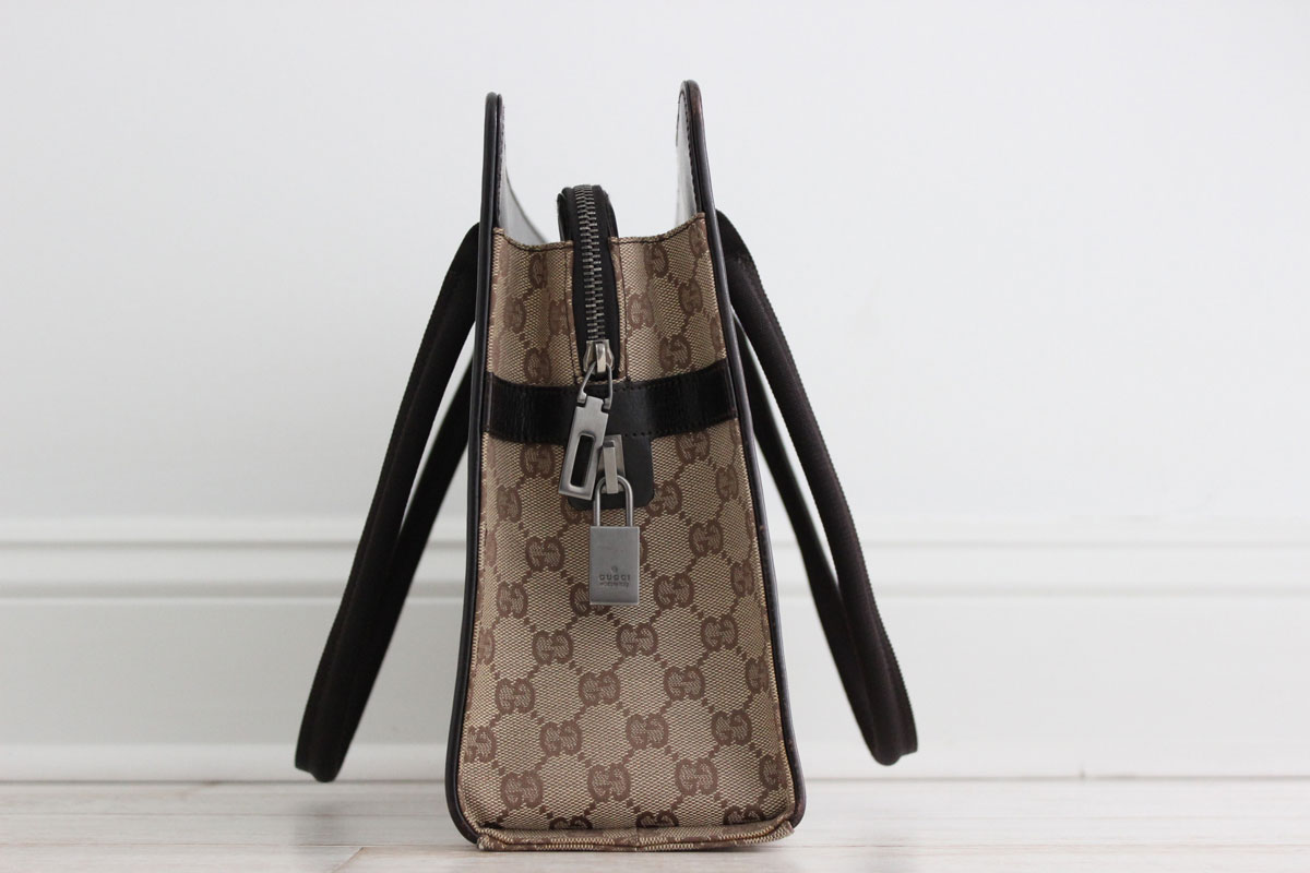 Gucci Vintage Beige Ebony Gg Canvas Amp Leather Large Tote