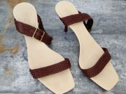 Gucci Brown Woven Leather Sandal Size 7.5