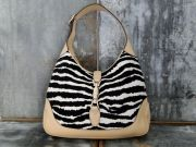 Gucci Zebra Print Pony Hair 'New Jackie' Shoulder Bag